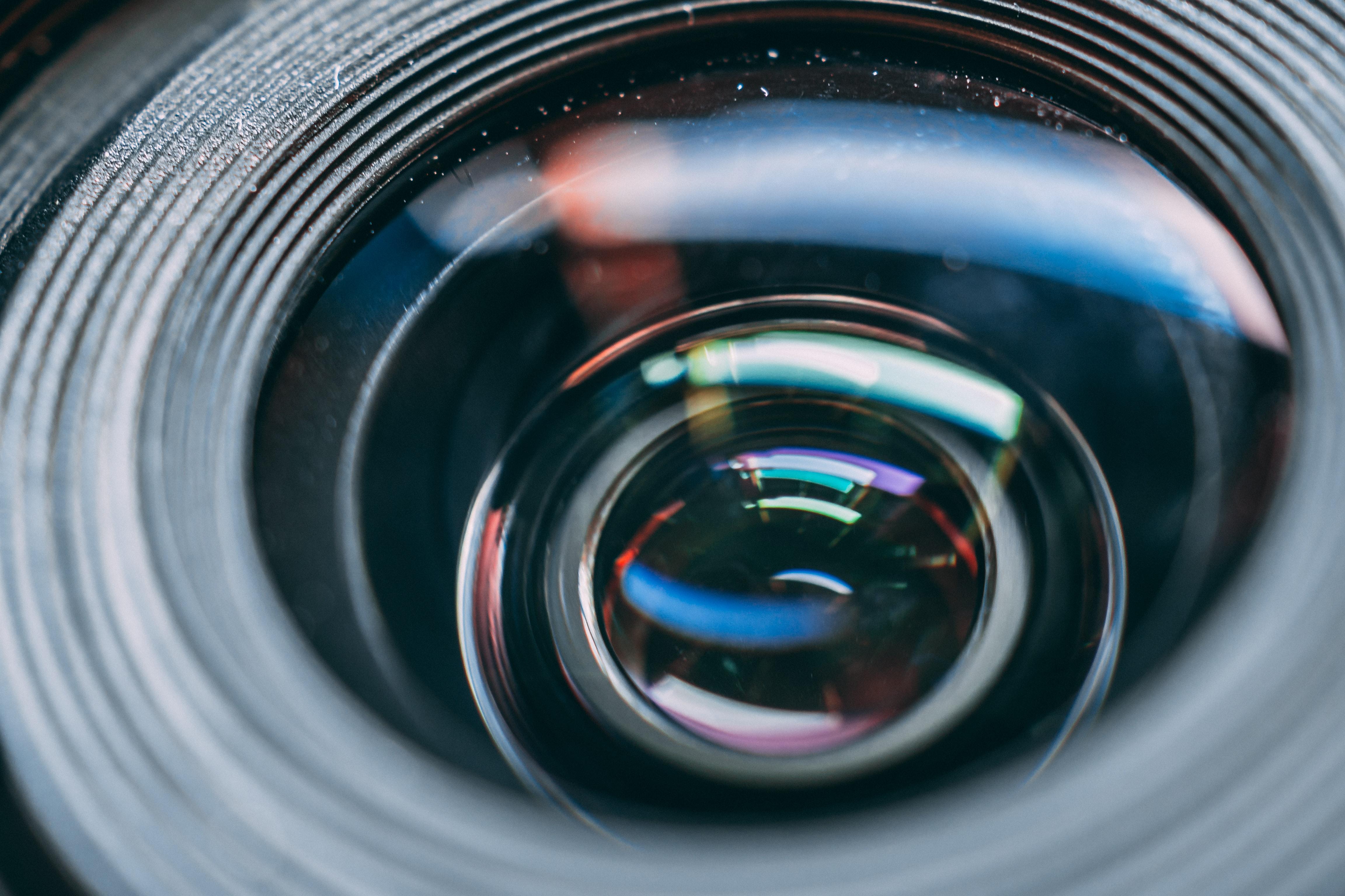 Up close shot of a camera lens.